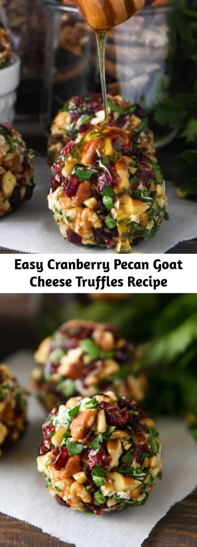 Easy Cranberry Pecan Goat Cheese Truffles Recipe - These festive mini cheese balls only take 15 minutes to make! Drizzle them with honey to really take them over the top! #CranberryPecanGoatCheeseTruffles #Truffles #GoatCheeseTruffles #CheeseBall #Appetizer #Christmas #NewYears #ChristmasAppetizers #GoatCheese #Cranberries