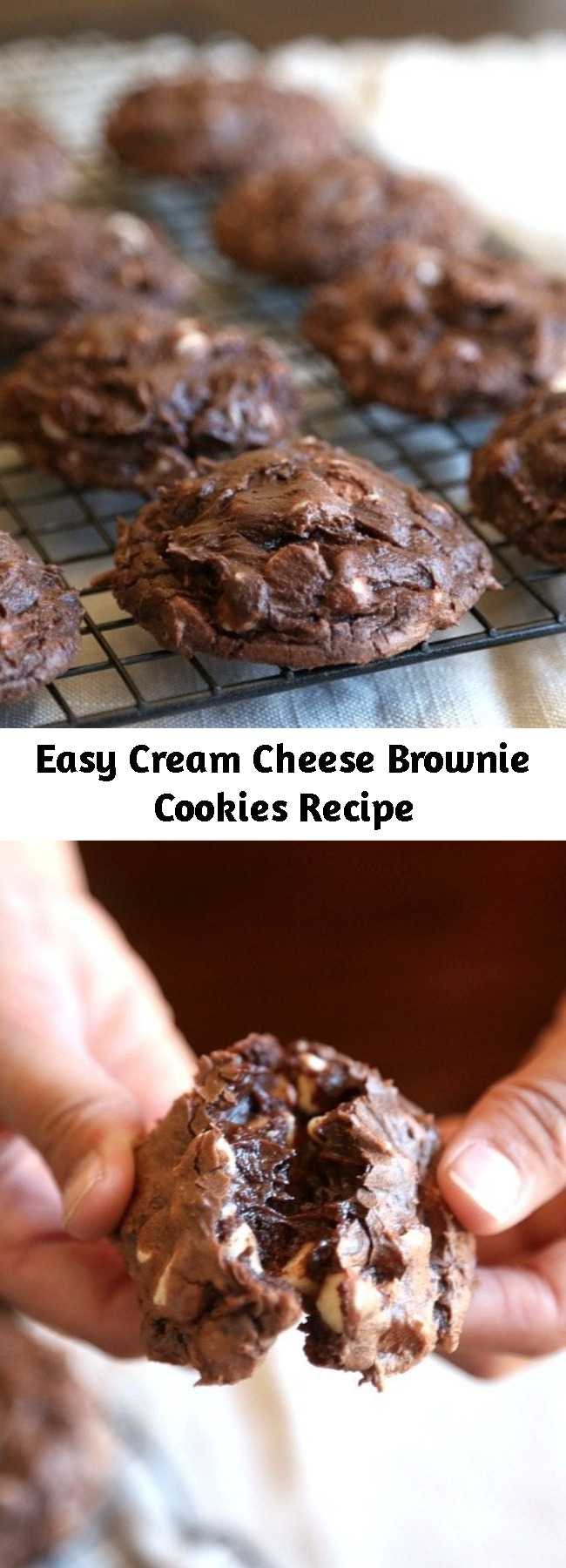 Easy Cream Cheese Brownie Cookies Recipe - These Cream Cheese Brownie Cookies are ridiculously gooey and fudgy! They're also super simple made with a brownie mix! This cream cheese brookie recipe is the chocolate dessert of your wildest dreams!