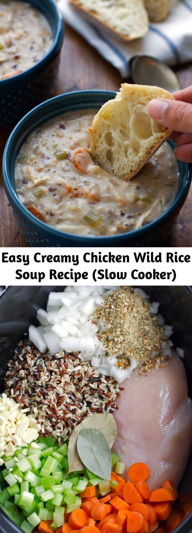 Easy Creamy Chicken Wild Rice Soup Recipe (Slow Cooker) - A warm and cozy chicken wild rice soup made right in the slow cooker. This soup is loaded with carrots, celery, boneless chicken and of course, wild rice! It's the perfect slow cooker meal for a chilly winter night! The best part is, you've probably got most of these ingredients at home already!