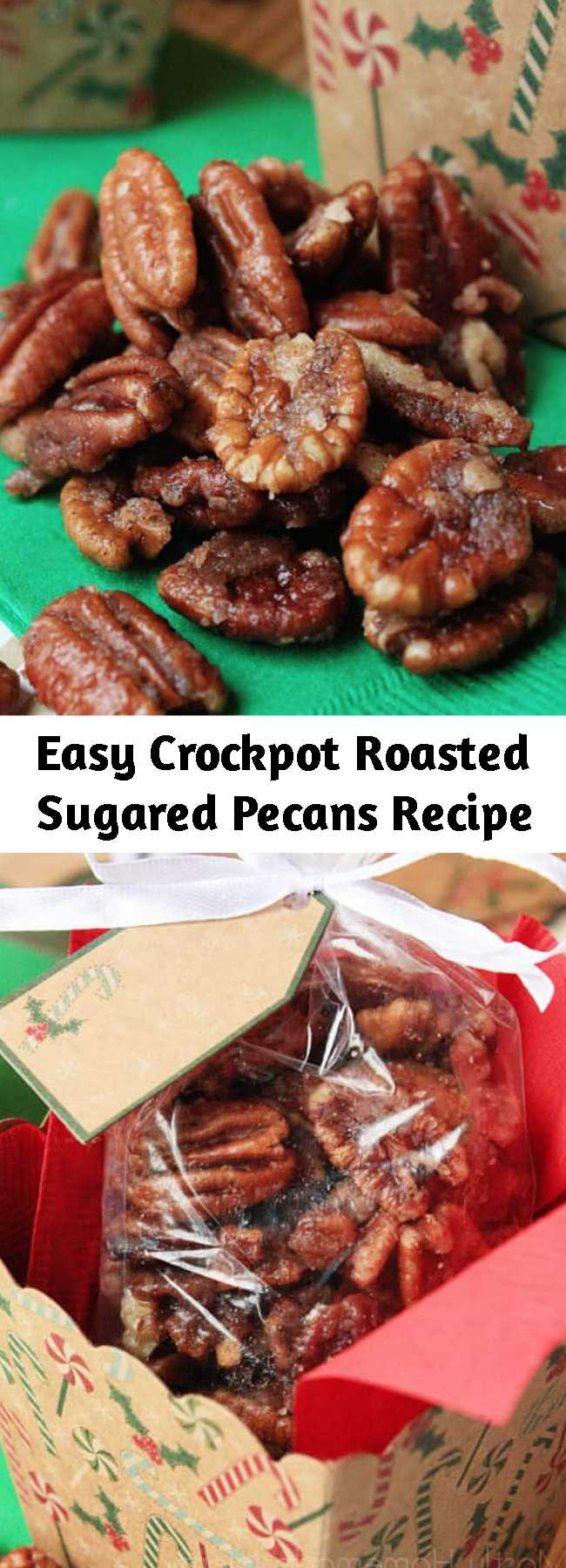 Easy Crockpot Roasted Sugared Pecans Recipe - Halved pecans tossed with butter, powdered sugar, and spices and slow cooked until glazed. These make wonderful Christmas gifts!