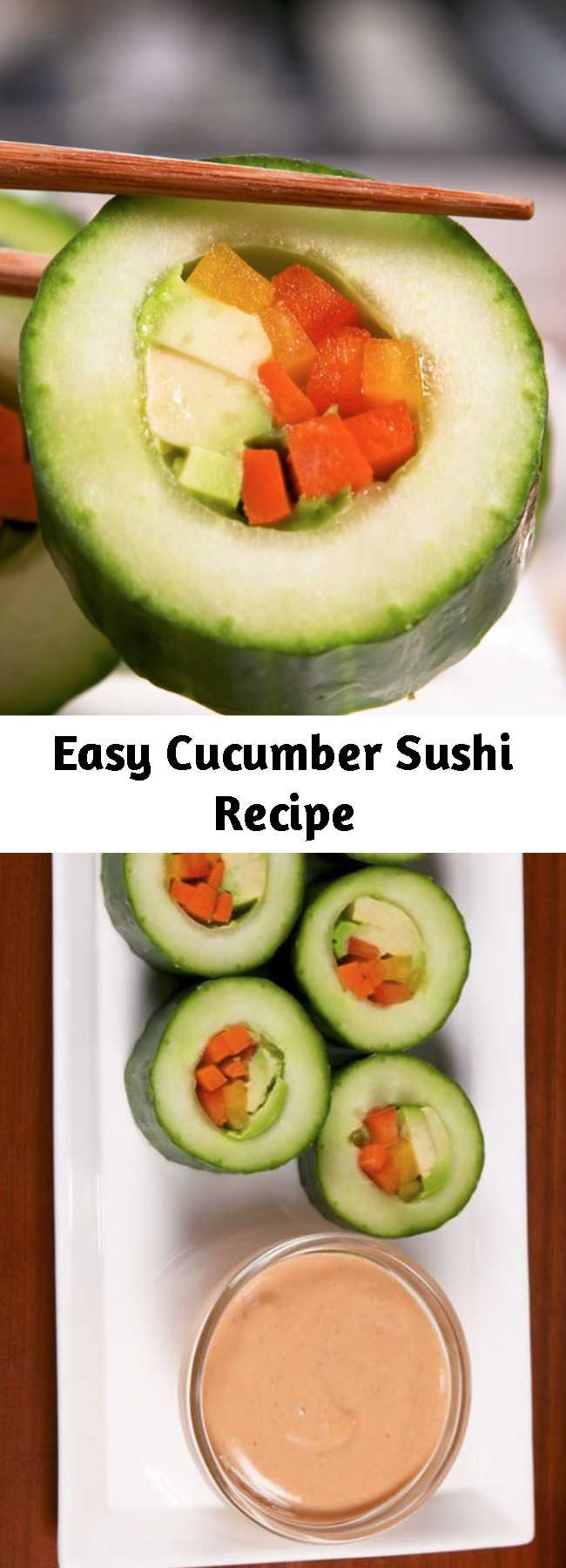 Easy Cucumber Sushi Recipe - We know it's not real sushi but we love it just the same. #food #easyrecipe #vegetarian #keto #healthyeating