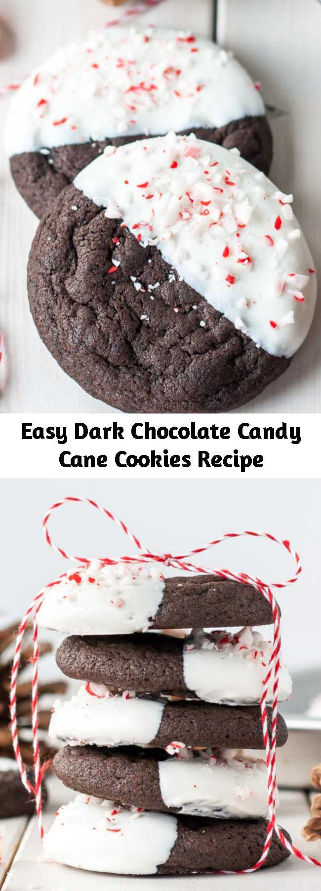 Easy Dark Chocolate Candy Cane Cookies Recipe - The classic combination of chocolate and peppermint make these Dark Chocolate Candy Cane Cookies the perfect treat for the holidays!