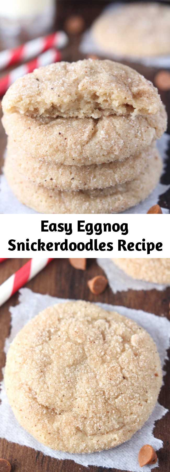 Easy Eggnog Snickerdoodles Recipe - The prominent eggnog flavor in these cookies is really festive for the holiday season! They're incredibly soft and chewy, and they'll stay that way for a week if stored in an airtight container—if they last that long!