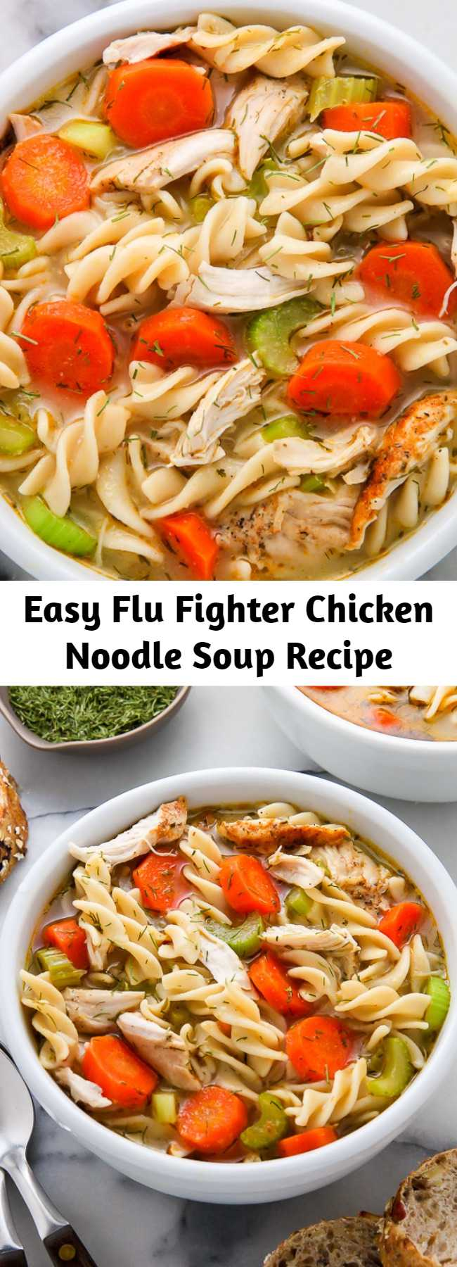Easy Flu Fighter Chicken Noodle Soup Recipe - Got a cold? Then you need to try this Flu Fighter Chicken Noodle Soup! Flu Fighter Chicken Noodle Soup is the ultimate comfort food when you're feeling sick! Loaded with tender chicken, carrots, celery, onion, egg noodles, lemon juice, and dill, this soup is so flavorful. Even kids love this healthy recipe!