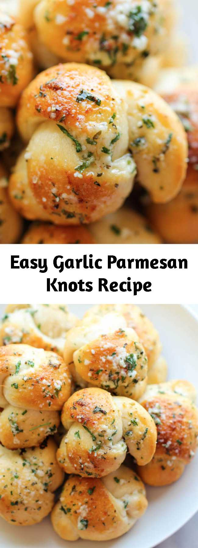 Easy Garlic Parmesan Knots Recipe - Fool-proof, buttery garlic knots that come together in less than 20 min – it doesn't get easier than that!