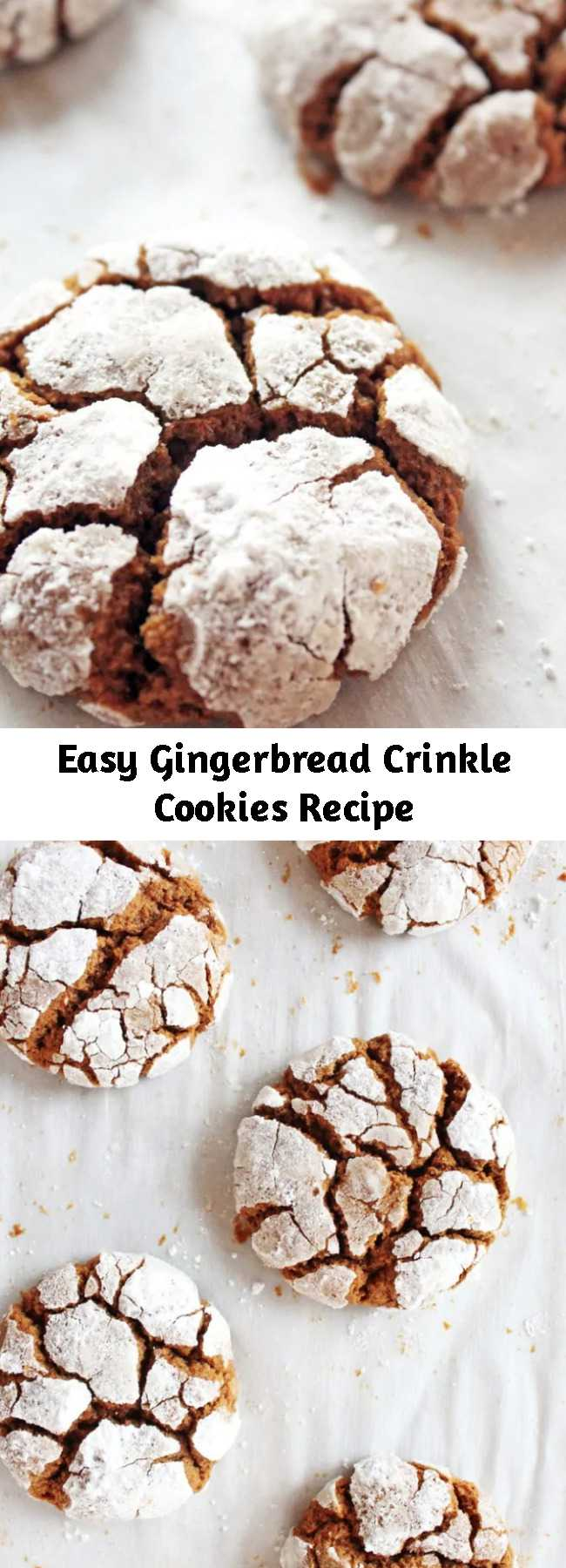 Easy Gingerbread Crinkle Cookies Recipe - Gingerbread crinkle cookies are a must-try during the holidays. They are chewy, full of ginger flavor and coated in sugar with exposed cookie cracks.
