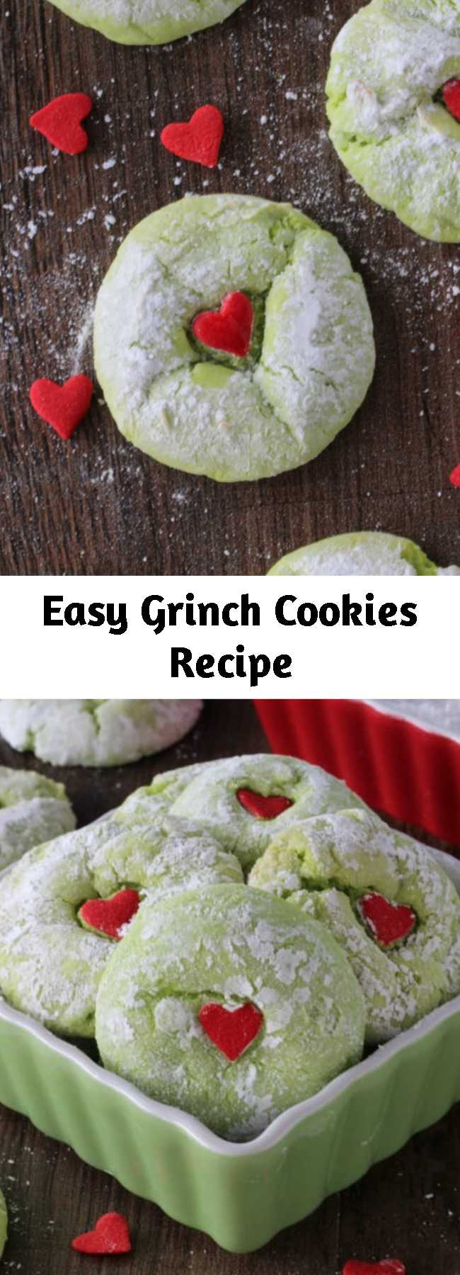 Easy Grinch Cookies Recipe - Made and loved by thousands every year! These Cake Mix Grinch Cookies are so easy and festive they will be sure to put you in the holiday mood.
