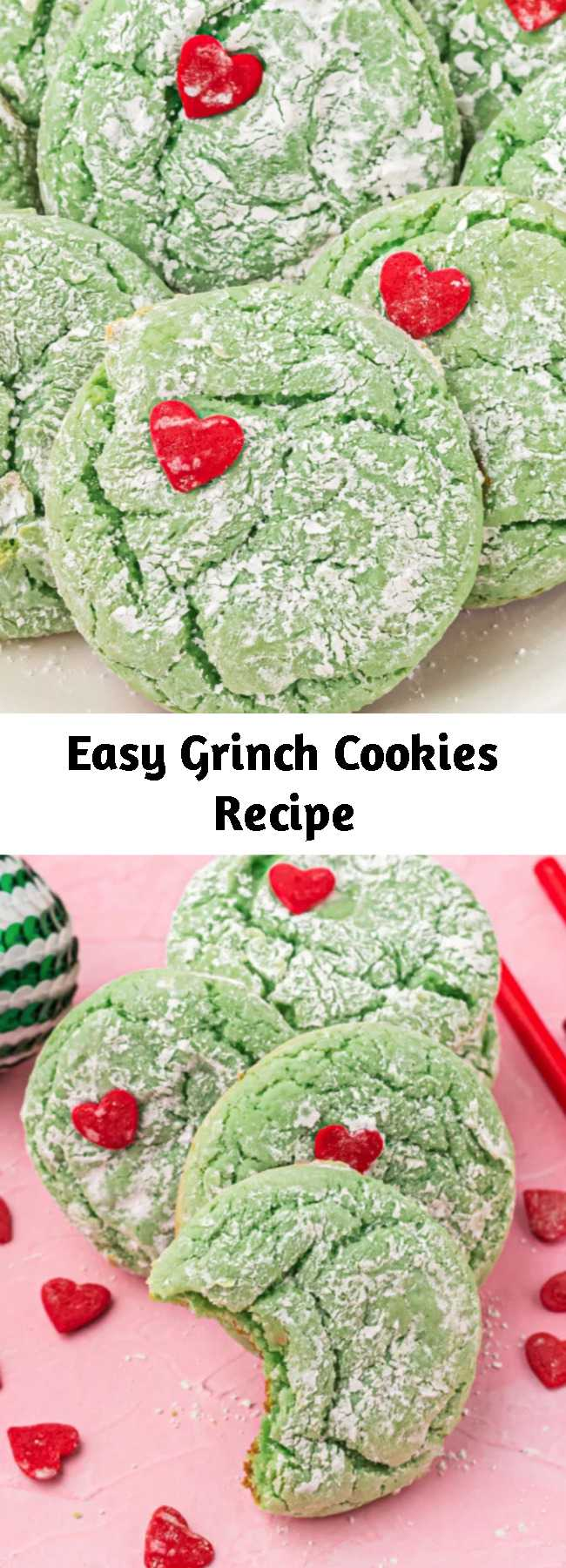 Easy Grinch Cookies Recipe - These Grinch Cookies are the ultimate holiday cookie. They have a soft, gooey texture, are colored to the perfect shade of Grinch-green and topped with powdered sugar and a tiny red heart sprinkle. They are so perfect, you'll never need another Christmas cookie recipe again!