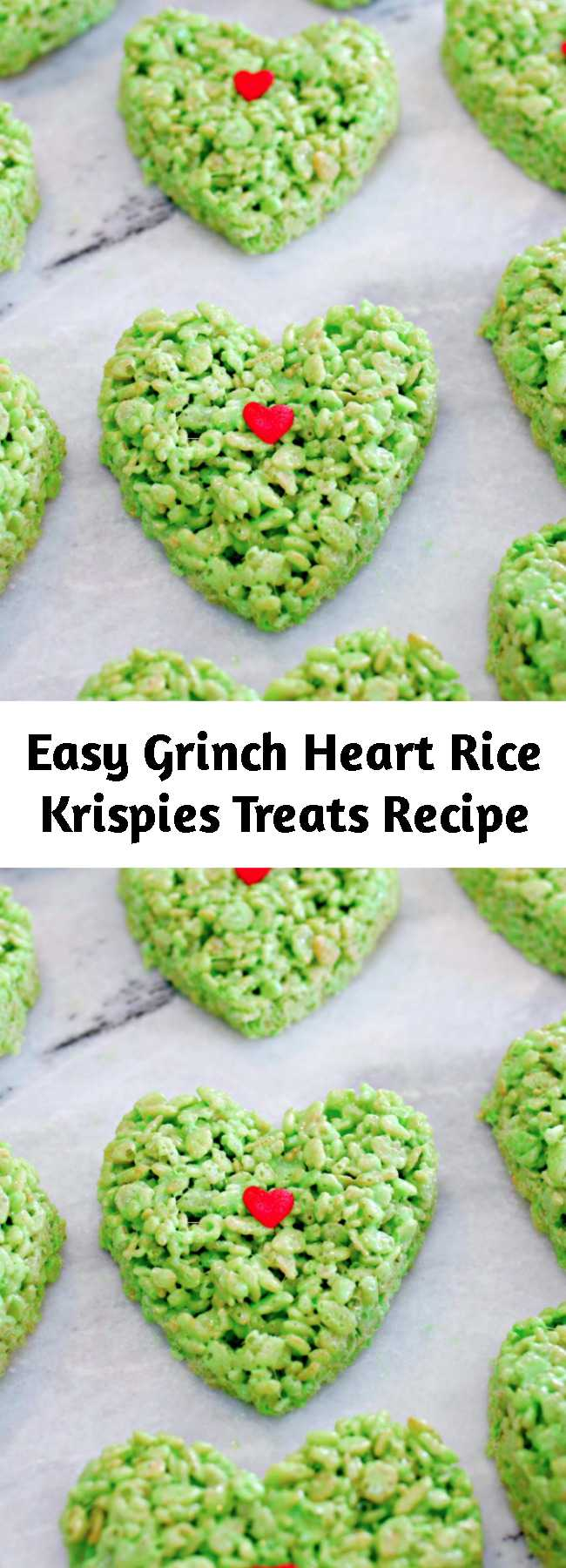 Easy Grinch Heart Rice Krispies Treats Recipe - Homemade Rice Krispie Treats are a favorite in our home, but during Christmas we like to kick them up a notch and make these super cute Grinch Heart Rice Krispies Treats…easiest recipe ever and they are oh so delicious!