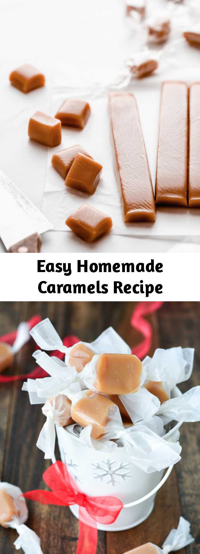 Easy Homemade Caramels Recipe - Soft, buttery, melt-in-your-mouth Homemade Caramels are the perfect holiday gift! Package them up and enjoy this heavenly candy all season long.