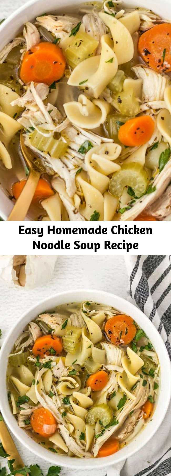 Easy Homemade Chicken Noodle Soup Recipe - This Homemade Chicken Noodle Soup is made 100% from scratch, with plenty of chunky vegetables, herbs, and a homemade broth, just like Grandma used to make!