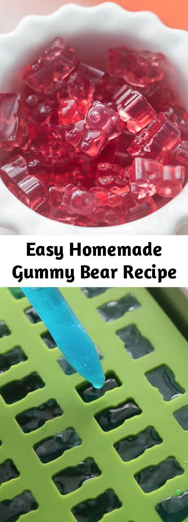 Easy Homemade Gummy Bear Recipe - This homemade gummy bear recipe is so easy to make! Kids will love helping to make their own gummy bear treats. 2 ways to make them: Gummy Bear Recipe with Jello and Gummy Bear Recipe with Gelatin and Real Fruit Juice #recipes #kidsrecipes #snacks #treats