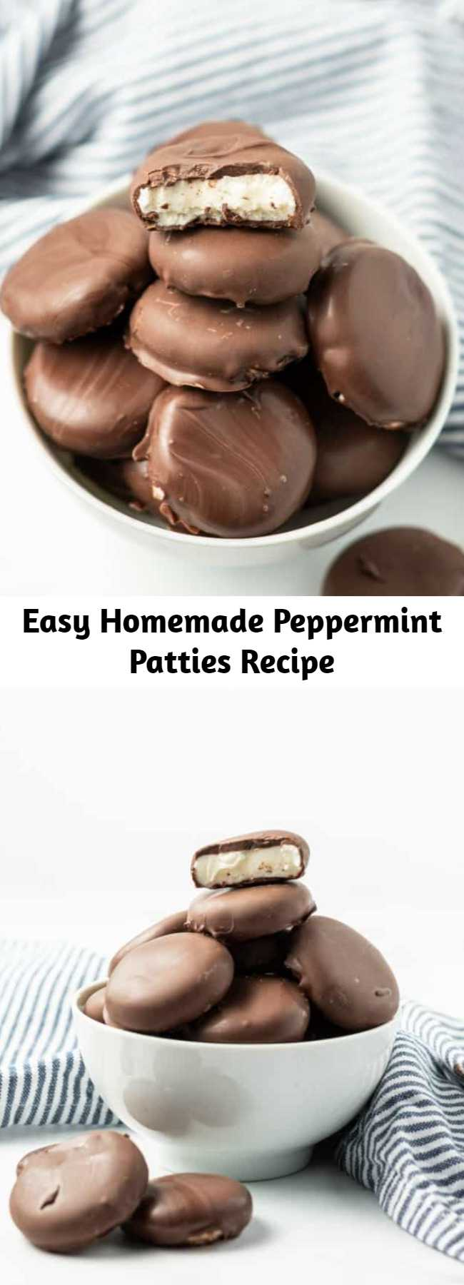 Easy Homemade Peppermint Patties Recipe - Peppermint filling wrapped in sweet chocolate; this Peppermint Patty recipe is easier than you ever realized. Skip the store bought candies and make your own! Shape them like footballs for a game day treat!