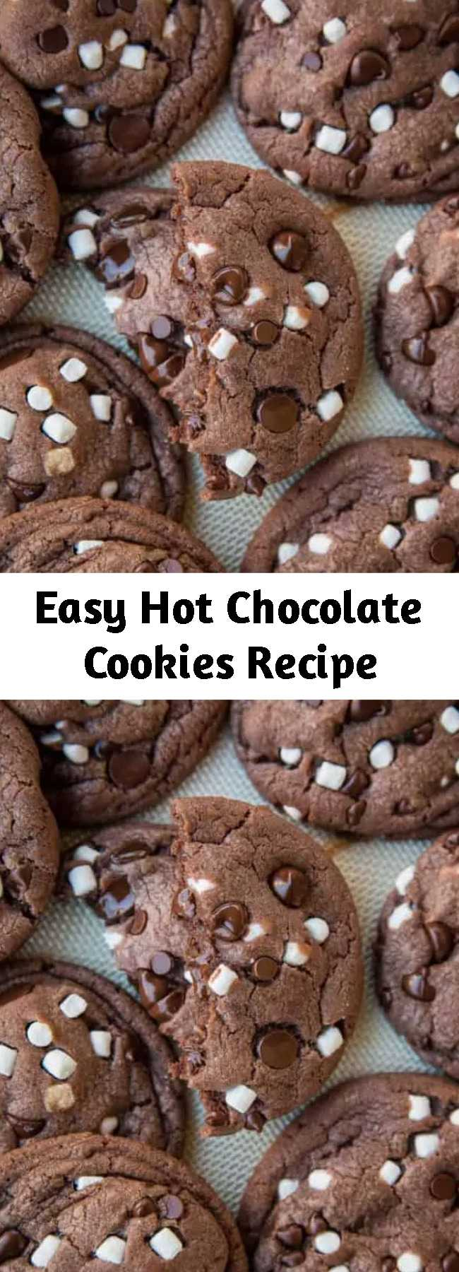 Easy Hot Chocolate Cookies Recipe - These easy Hot Chocolate Cookies are always a hit! Made with real hot cocoa, this is always a popular winter or Christmas cookie and is perfect for cookie exchanges.