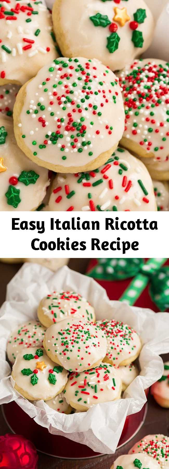 Easy Italian Ricotta Cookies Recipe - Soft and fluffy, melt-in-your-mouth cookies made with rich ricotta (for moisture and flavor) and finished with a sweet glaze. These are so good you can never stop at just one! They're holiday classic and such a fun recipe to try if you've never made them. The dough can be made two days in advance so it's a great make ahead recipe.