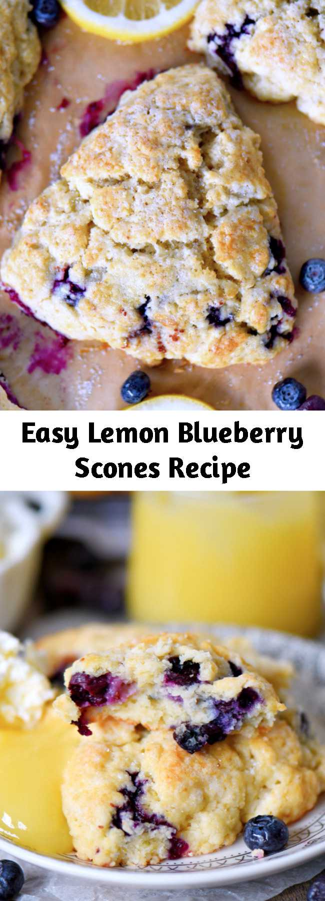 Easy Lemon Blueberry Scones Recipe - This Lemon Blueberry Scones recipe is a delightful addition to any breakfast or brunch! Fresh blueberries and loads of lemon zest add an irresistible freshness to these easy to make scones. Serve with lemon curd and cream for an afternoon tea experience everyone will love! #brunch #breakfast #tea #blueberries #blueberry #lemon #scones #scone #recipe #recipes