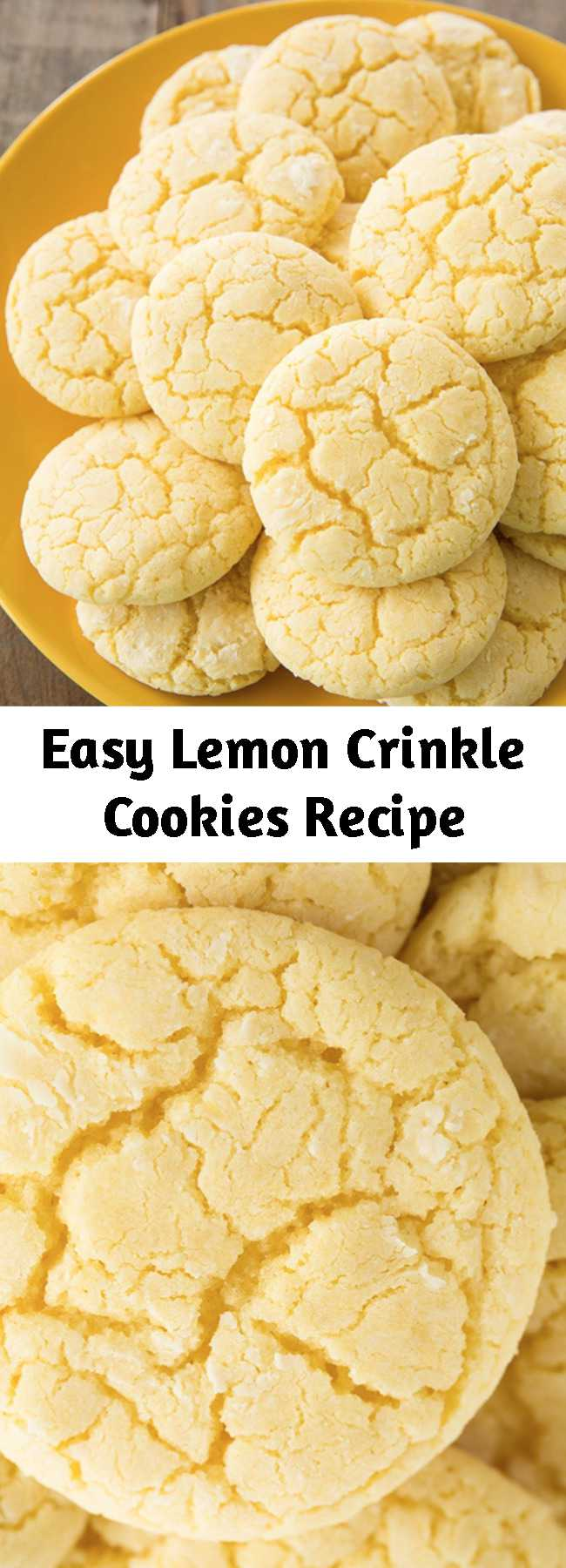Easy Lemon Crinkle Cookies Recipe - These lemon crinkle crinkle cookies are the perfect dessert in the summer, but they also make the perfect holiday cookie in the winter. They're brimming with lemon flavor and have a delicious, soft texture. They just melt in your mouth when they are warm out of the oven. Plus, they take less than 25 minutes to prepare!
