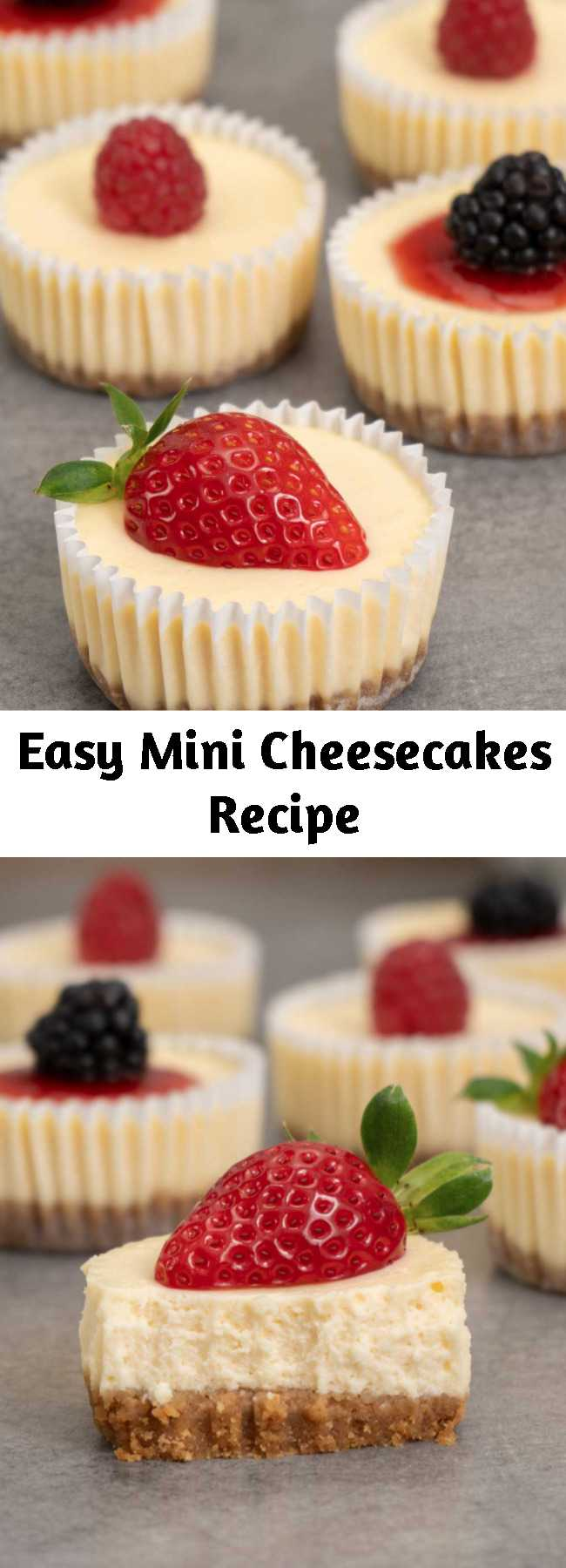 Easy Mini Cheesecakes Recipe - Inspired by Cheesecake Factory, these mini cheesecakes have super creamy texture and taste. They are easy to make and great to take to parties and gatherings. Enjoy them as they are or with your favourite marmalade and berries. Yum!
