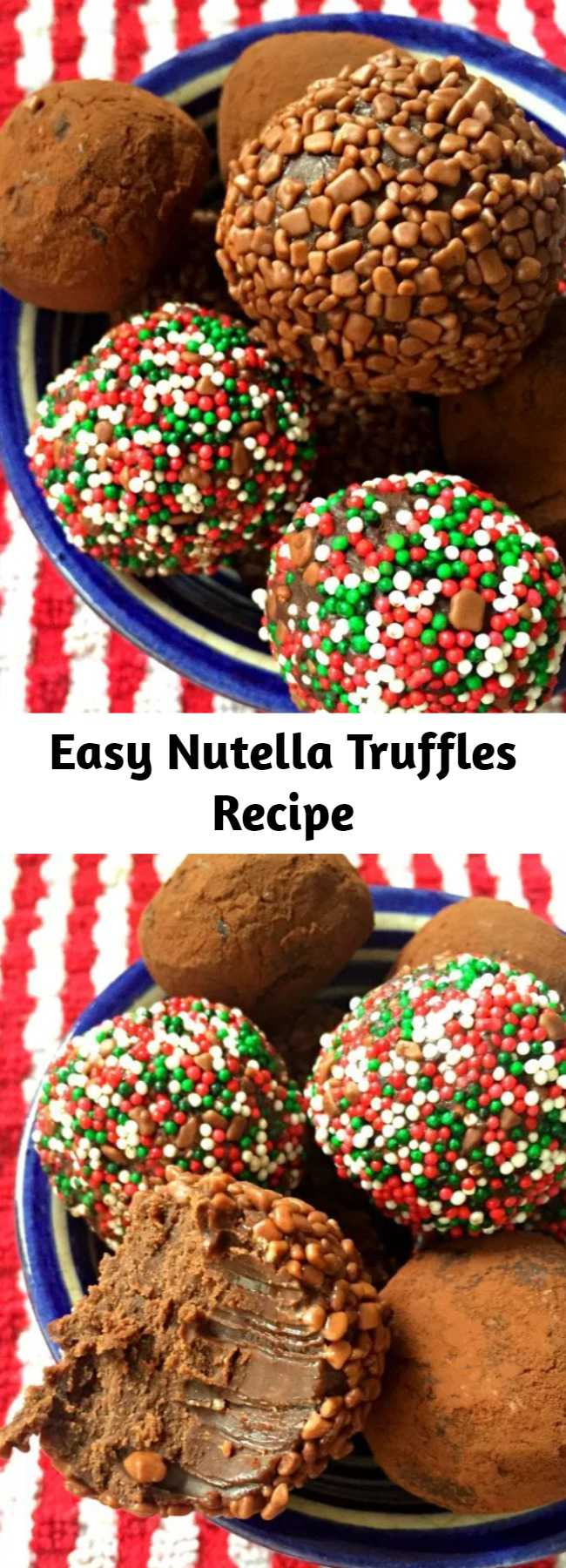 Easy Nutella Truffles Recipe - Easy Nutella Truffles with all the yummy hazlenut flavour of Nutella – and only three ingredients! They're no-bake, with all the usual deliciousness of a regular chocolate truffle.. and then the extra chocolate hazlenut hit of Nutella 😍.