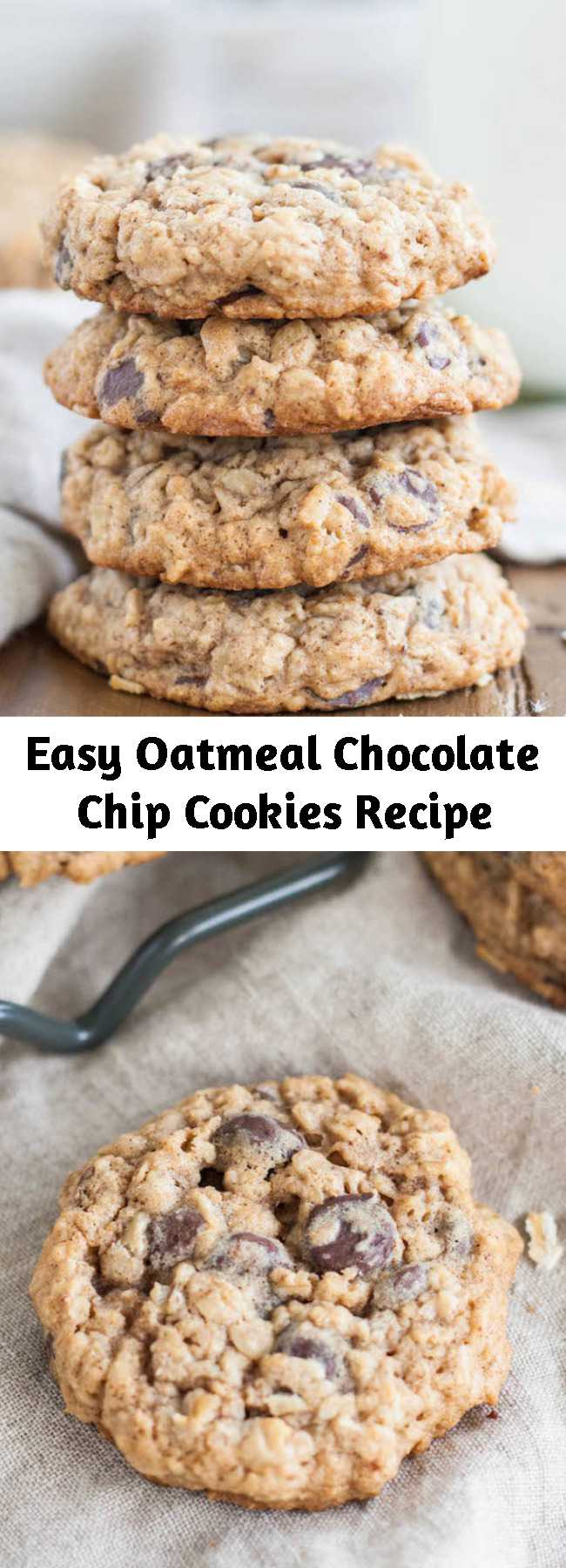 Easy Oatmeal Chocolate Chip Cookies Recipe - The only oatmeal cookie recipe you will ever need! Soft and chewy oatmeal chocolate chip cookies loaded with oats and chocolate chips!