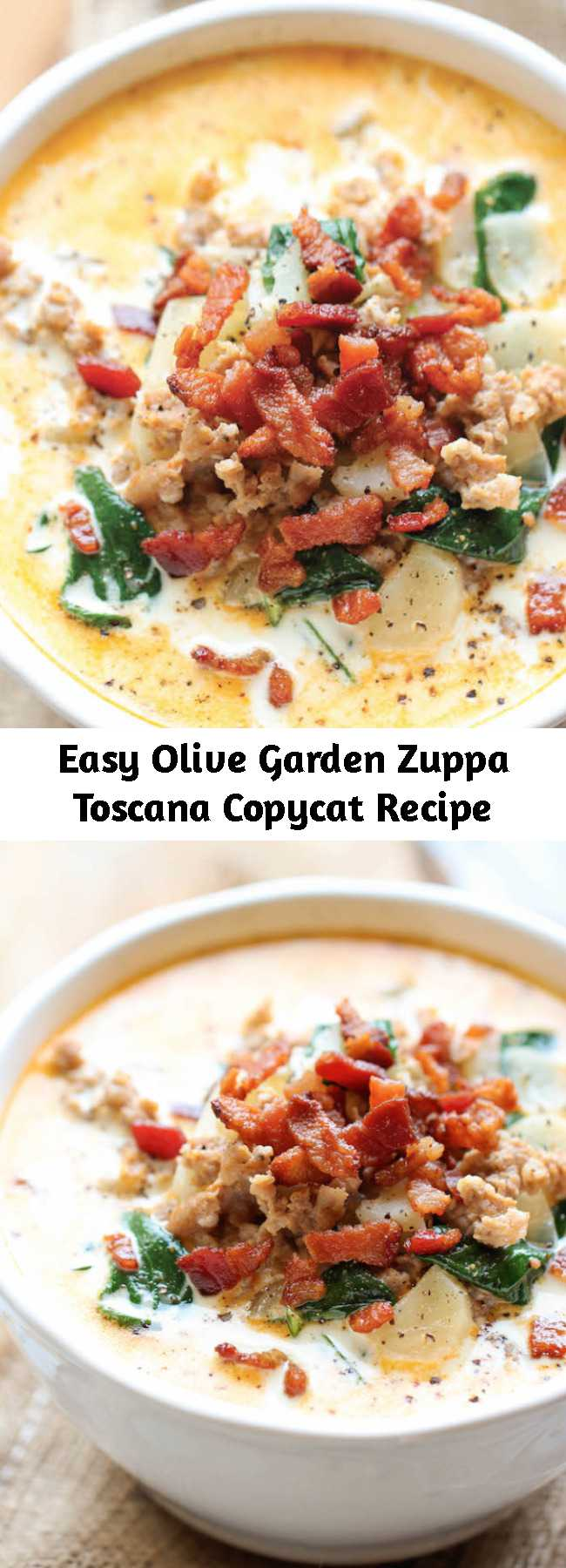 Easy Olive Garden Zuppa Toscana Copycat Recipe - This copycat recipe is budget-friendly, incredibly easy to make, and tastes a million times better than the original!