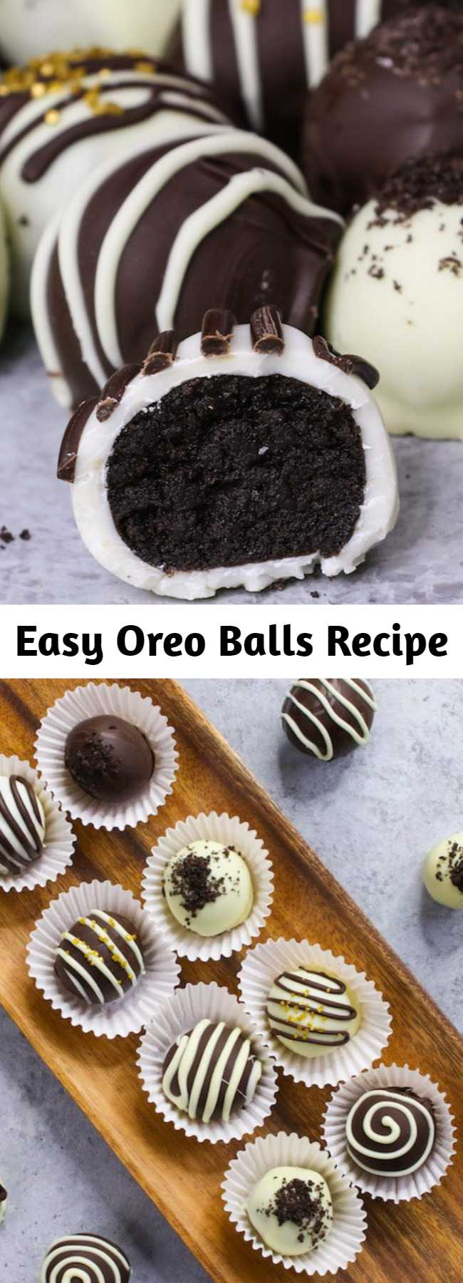 Easy Oreo Balls Recipe - Oreo Balls are made with crushed Oreo cookies mixed with cream cheese and covered with melted chocolate. These sweet treats melt in your mouth with delicious chocolatey Oreo flavors. You can make this recipe for a Christmas party or any other occasion using just 3 ingredients! So Good! Quick and easy recipe, party desserts. No Bake. Vegetarian.