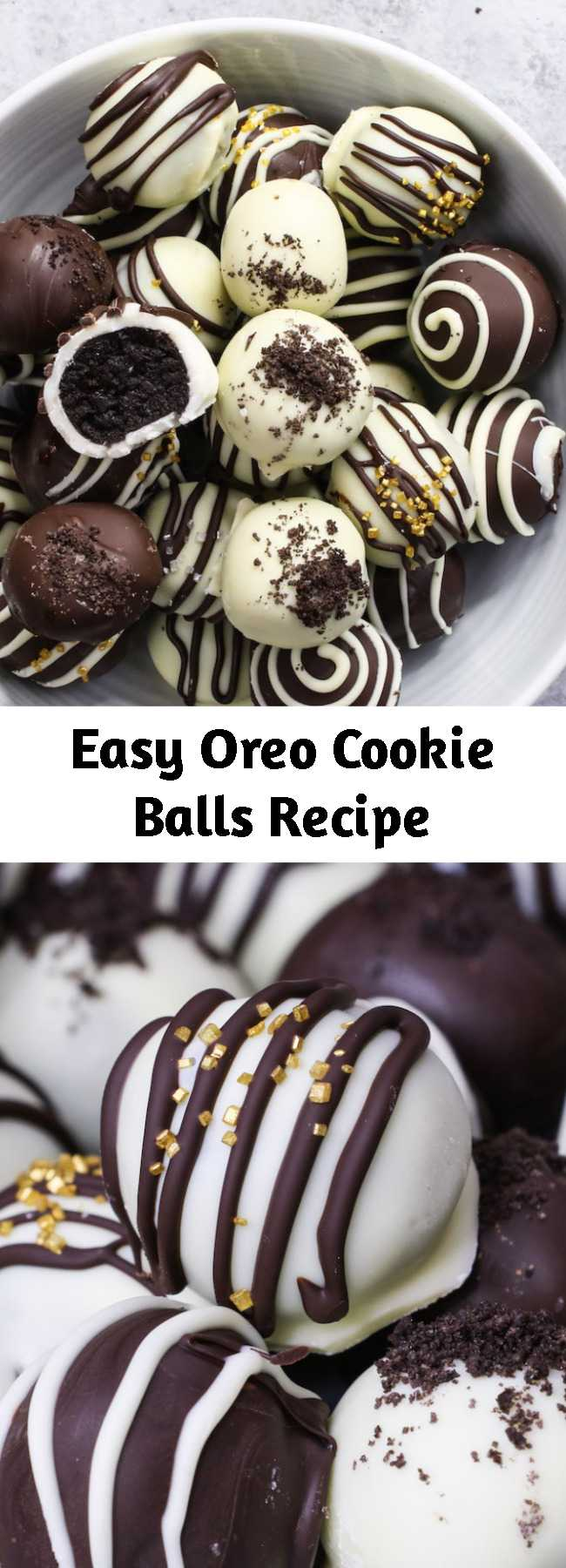 Easy Oreo Cookie Balls Recipe - Oreo Cookie Balls are a creamy and rich bite-sized no-bake treat: crushed oreo cookies are mixed with cream cheese, and then these oreo balls are coated with melted chocolate. Only 3 ingredients! They are an easy dessert for holidays such as Christmas!