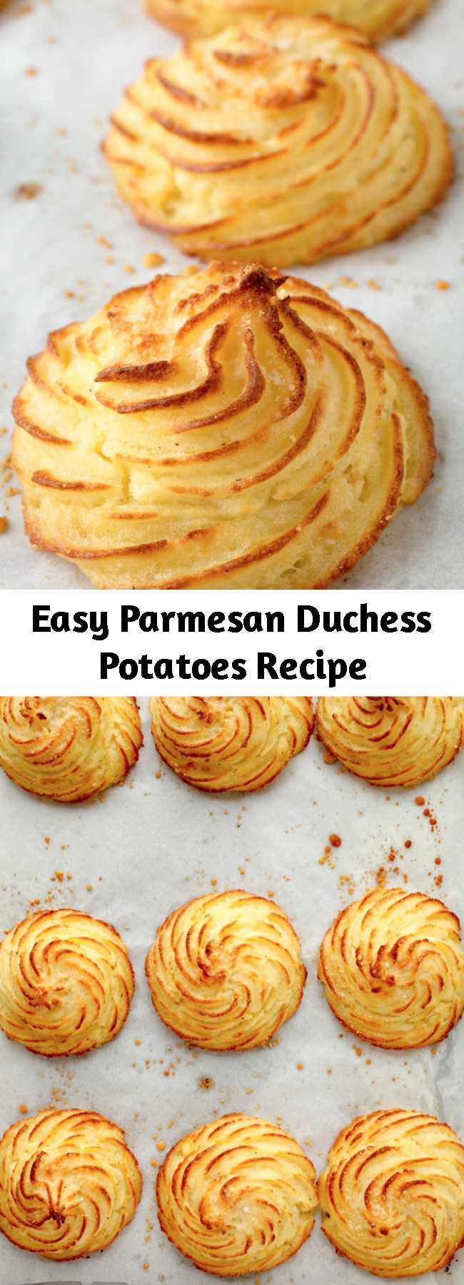 Easy Parmesan Duchess Potatoes Recipe - See how easy it is to elevate your mashed potatoes with this Duchess Potatoes recipe! These individually-piped potato puffs are a rich, elegant side dish for a special occasion dinner.
