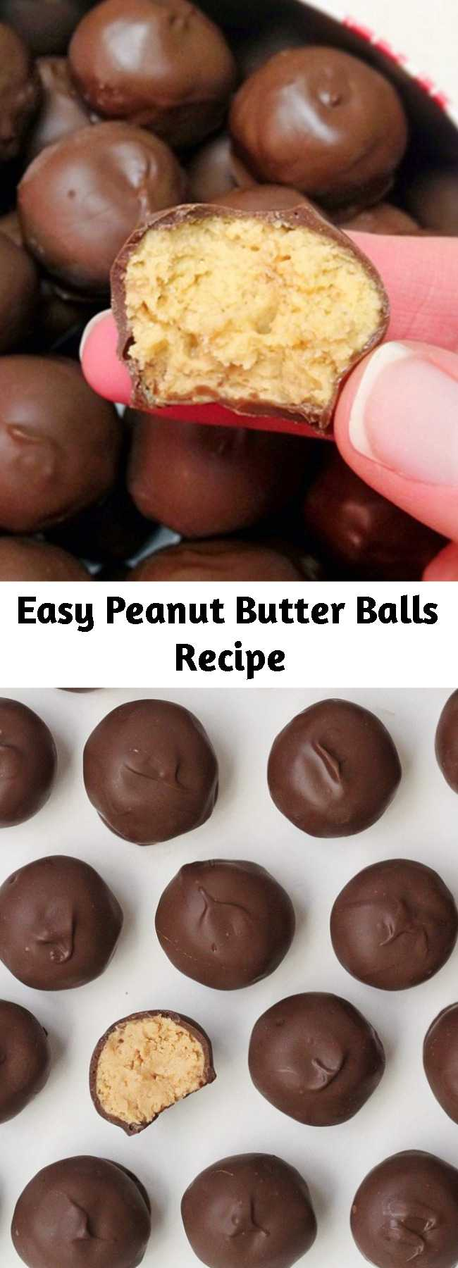Easy Peanut Butter Balls Recipe - These peanut butter balls are a huge hit! They're no bake, easy to make, and require only 5 ingredients!