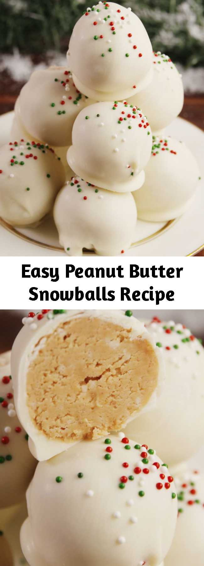 Easy Peanut Butter Snowballs Recipe - A snowball fight you actually want to be in. #food #holiday #christmas #easyrecipe #recipe #kids #inspiration #ideas