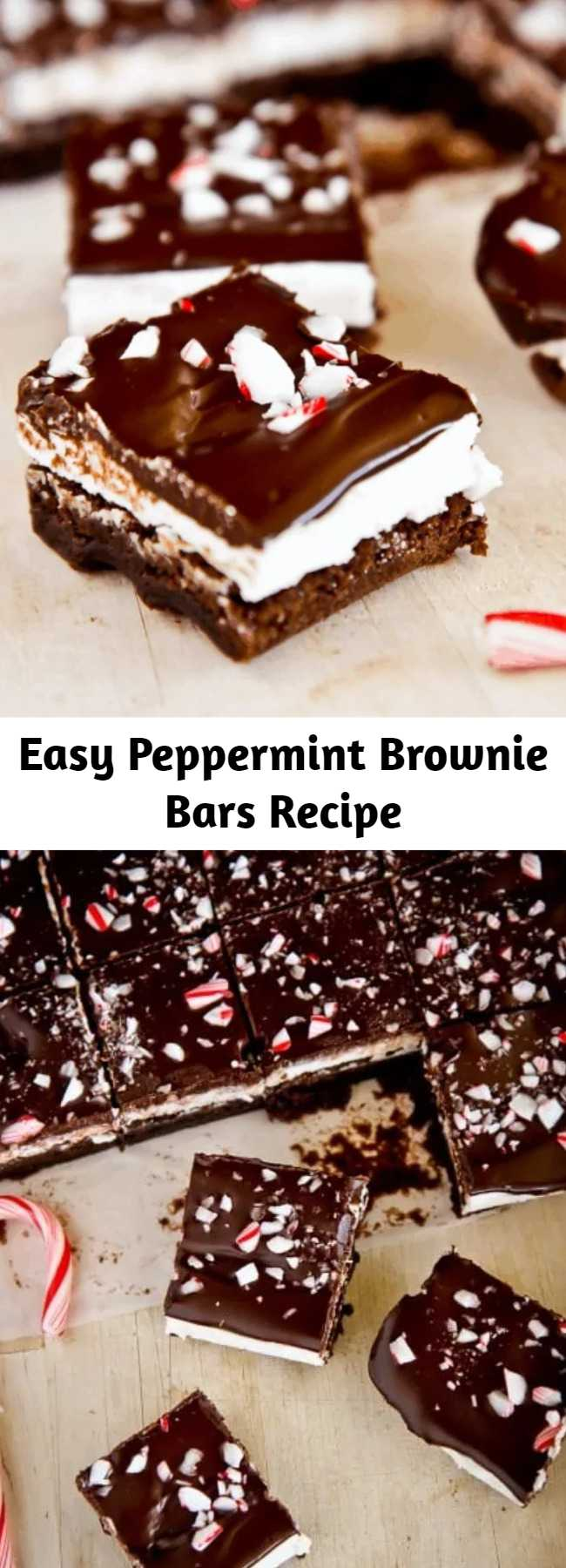 Easy Peppermint Brownie Bars Recipe - Rich and decadent with layers of flavor, these Chocolate Peppermint Brownie Bars are a fantastic holiday dessert. If you love the combo of rich chocolate and refreshing mint, then these brownies are for you! On a holiday cookie tray with other treats these Peppermint Brownie Bars will pretty much steal the show. They are all kinds of minty amazingness.