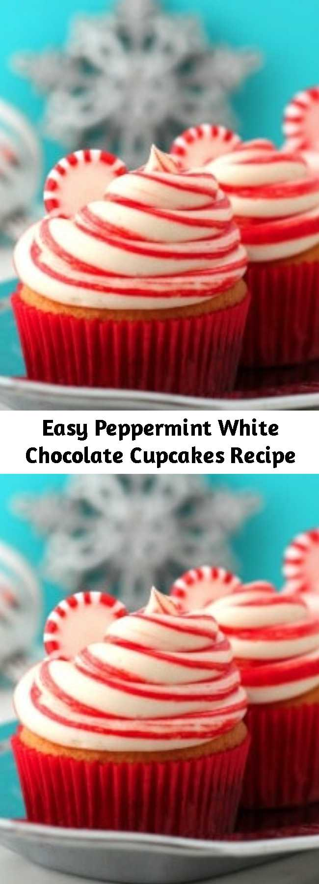 Easy Peppermint White Chocolate Cupcakes Recipe - Made with a base of boxed cake mix (and added melted white chocolate), these Peppermint White Chocolate Cupcakes are super easy to create! The peppermint frosting has red food coloring stripes to make them look like candy canes - so cute!