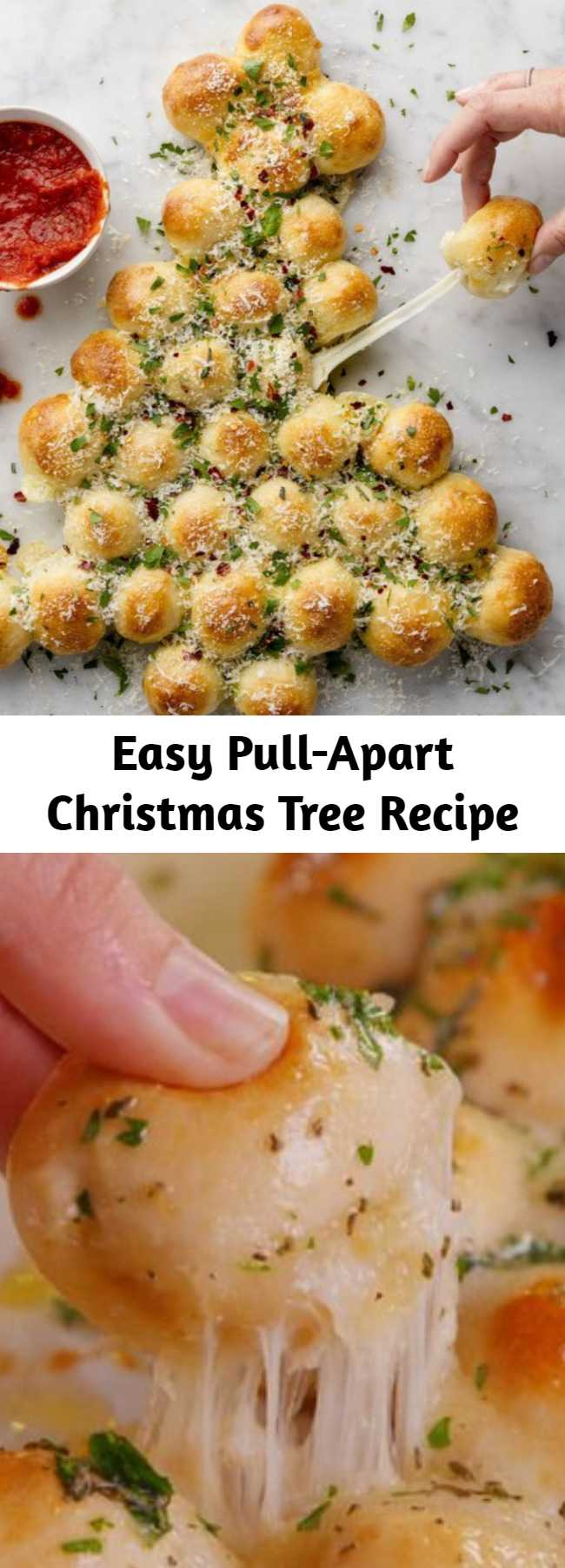 Easy Pull-Apart Christmas Tree Recipe - This cheesy Christmas tree is the app that gets demolished in seconds. #easy #cheesy #bread #appetizer #holiday #christmas #christmastree #cheese ##mozzarella #pizzadough #basil #herbs #fingerfoods