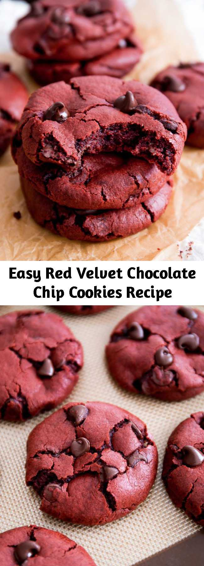 Easy Red Velvet Chocolate Chip Cookies Recipe - Red velvet cake meets a soft-baked chocolate chip cookie today. A blissful marriage of two classic desserts! These are soft-baked red velvet chocolate chip cookie recipe made from scratch.