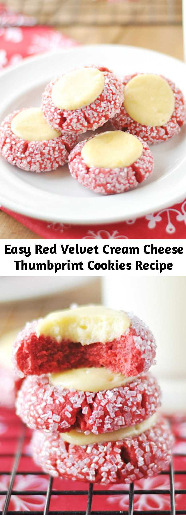Easy Red Velvet Cream Cheese Thumbprint Cookies Recipe - These Red Velvet Thumbprints are a cookie and cheesecake in one! Perfect for Christmas cookie plates and dangerously delicious.
