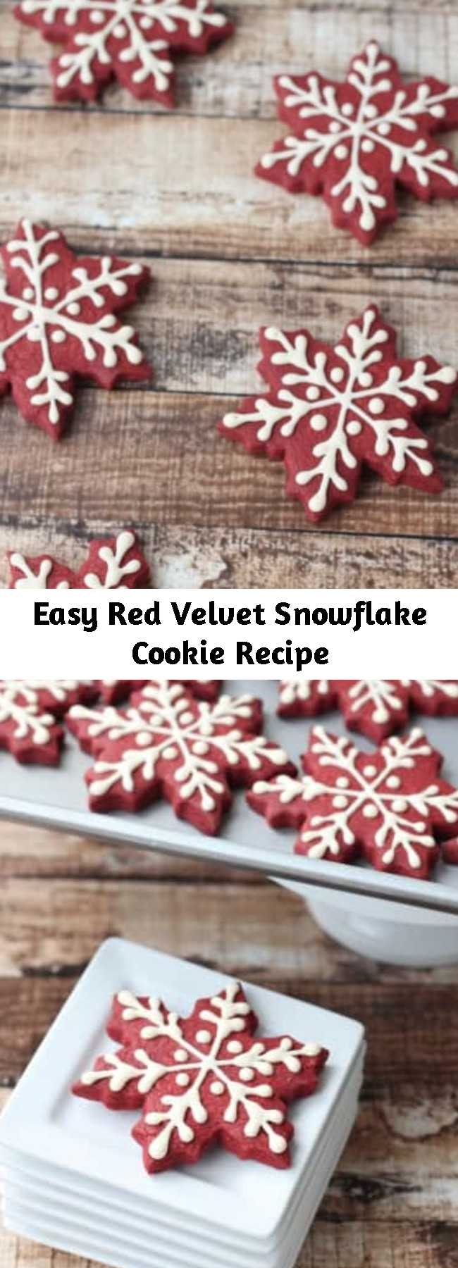 Easy Red Velvet Snowflake Cookie Recipe - These Red Velvet Snowflake Cookies are just perfect to make as soon as the cool weather hits!