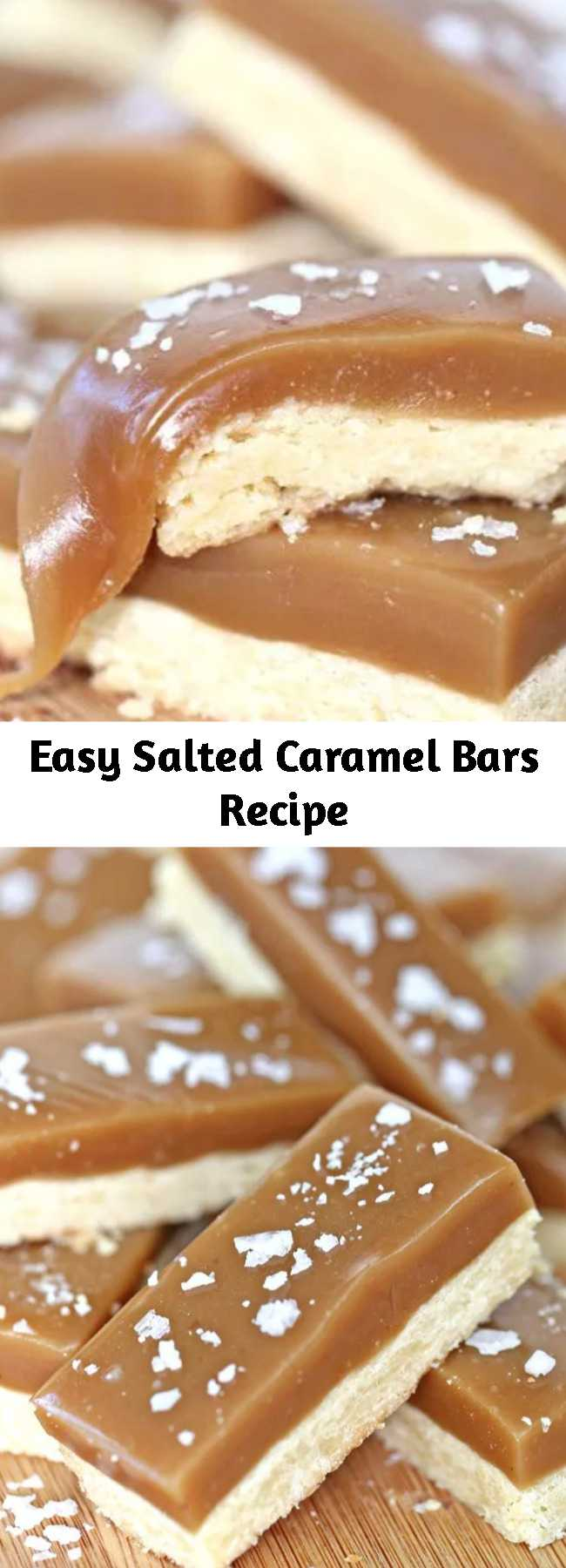 Easy Salted Caramel Bars Recipe - Salted Caramel Bars have a buttery shortbread base and a topping of rich, chewy caramel. A crunchy dusting of flaked sea salt on top is the perfect finishing touch! #saltedcaramel #bars