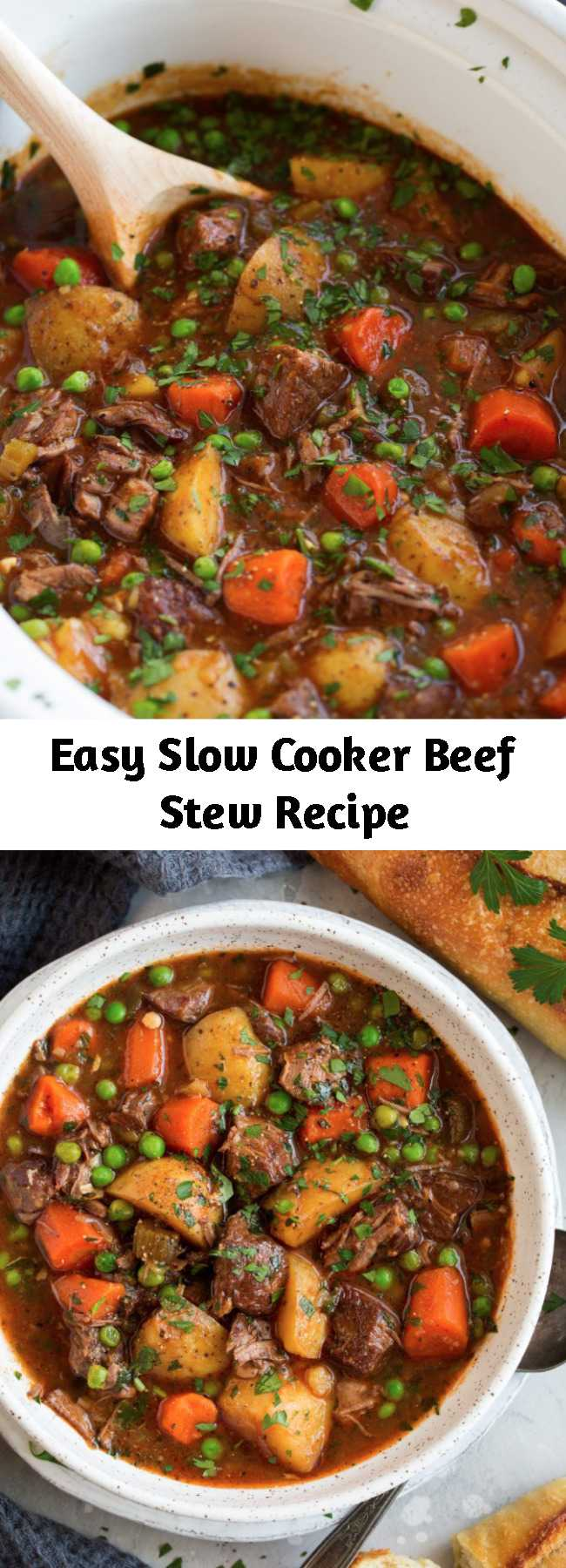 Easy Slow Cooker Beef Stew Recipe - This beef stew is the definition of comfort food! It is packed with flavor and that low and slow cooking yields the most tender beef. A staple recipe! Perfect cozy comfort food! #beefstew #soup #crockpot #recipe