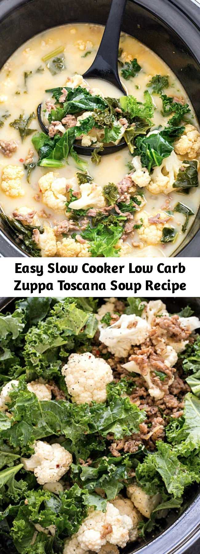Easy Slow Cooker Low Carb Zuppa Toscana Soup Recipe - Slow Cooker Low Carb Zuppa Toscana Soup - Skip the trip to your local restaurant and make a batch of this insanely delicious copycat soup! It's healthy, it's delicious, and it's made low carb! Perfect for a low carb and keto-friendly lifestyle!