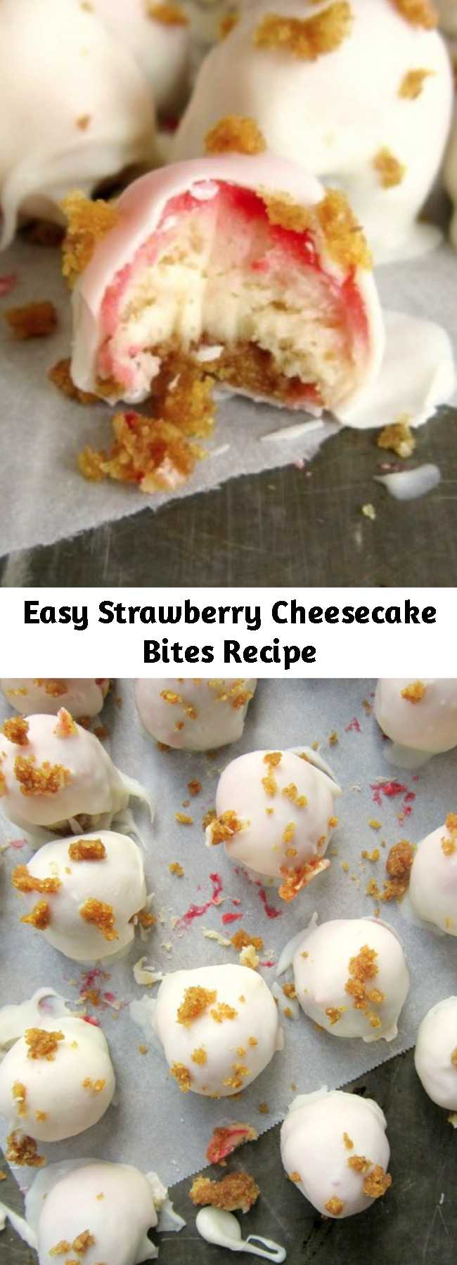 Easy Strawberry Cheesecake Bites Recipe - These little Strawberry Cheesecake Bites are just the perfect size!  And having them dipped in white chocolate is even an extra treat!