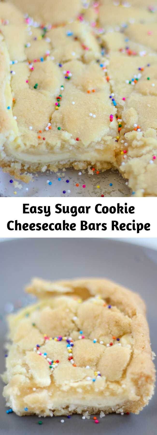 Easy Sugar Cookie Cheesecake Bars Recipe - This is the best dessert ever! If you love sugar cookies and cheesecake, then you will die for this dish! This sugar cookie cheesecake is so easy to make but tastes amazing. It is a yummy recipe to make for friends and family or just to give yourself a sweet treat. A dessert that has the best of both worlds! #sugarcookies #cookies #cheesecake #desserts #recipes
