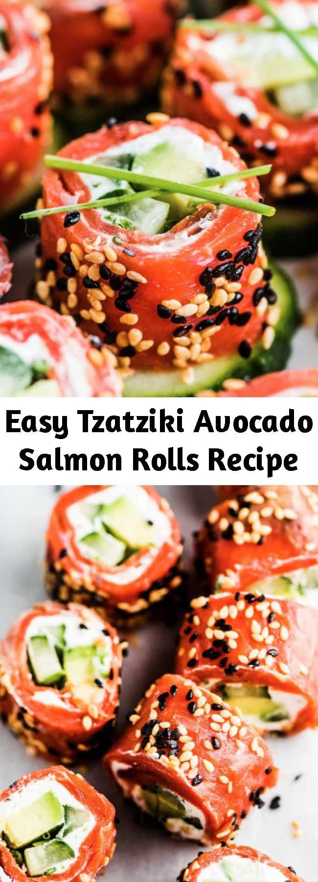 Easy Tzatziki Avocado Salmon Rolls Recipe - Tzatziki Avocado Salmon Rolls are the perfect party appetizer. They're totally delicious, easy to make, super pretty, and healthy. Bonus: they can be made ahead of time! #salmon #tzatziki #appetizer #seafood #fish #smokedsalmon #glutenfree #keto #lowcarb #holidayappetizer #partyappetizer #healthyrecipes #cucumber #cucumberbites #salmonroll