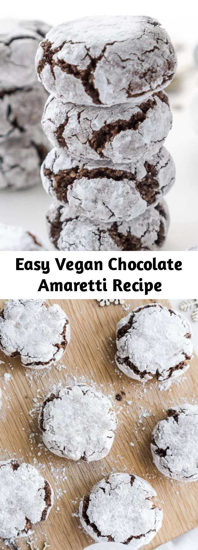 Easy Vegan Chocolate Amaretti Recipe - The perfect homemade cookies for Christmas! These irresistible vegan, gluten-free chocolate amaretti are super easy to make, crunchy on the outside and soft on the inside.