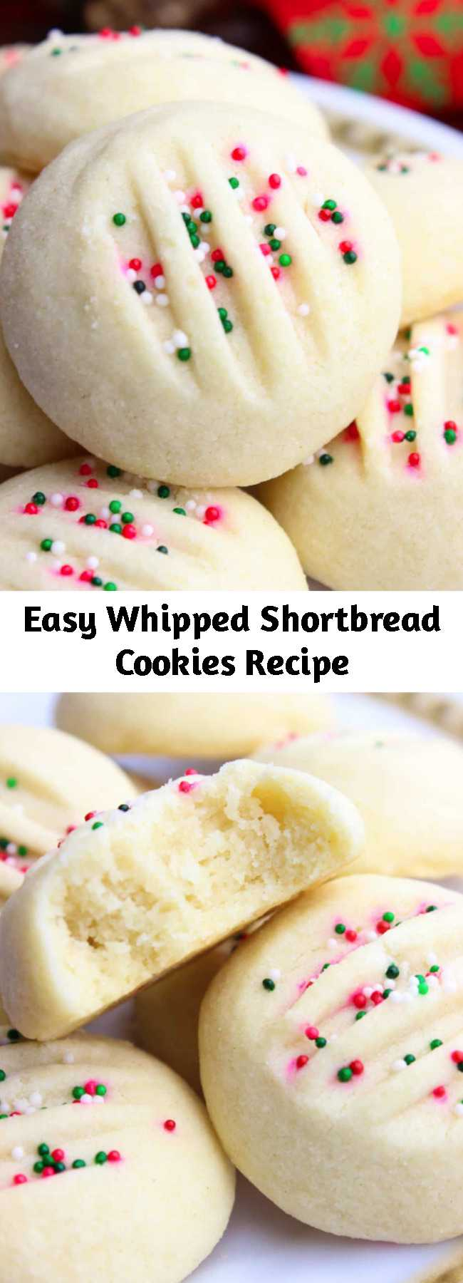 Easy Whipped Shortbread Cookies Recipe - If you are searching for easy Shortbread Cookies, look no further! My buttery and melt in your mouth soft whipped Shortbread Cookies got you covered. #shortbreadcookies #4ingredientscookies #cookies #easycookies #cookiesrecipes #prettycookies #easyshortbreadcookies #christmascookies #christmasrecipes