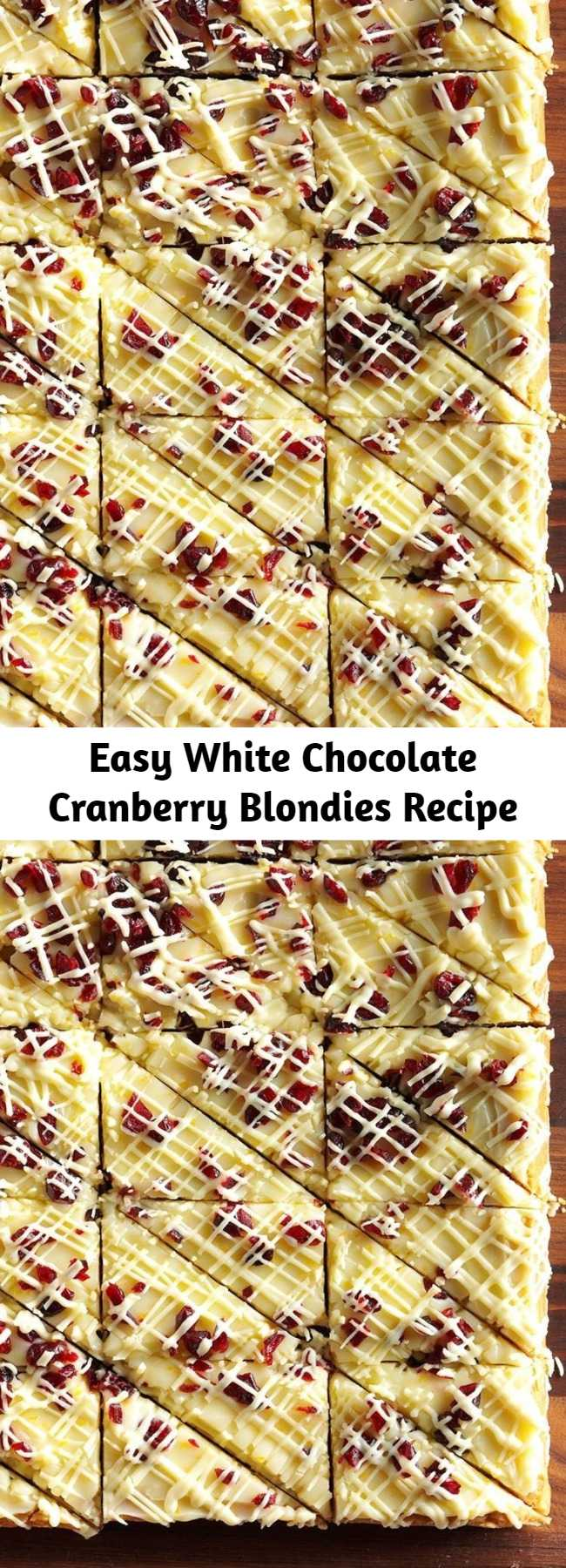 Easy White Chocolate Cranberry Blondies Recipe - For a fancier presentation, I cut the bars into triangle shapes and drizzle white chocolate over each one individually.