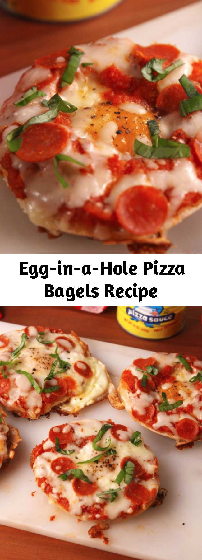 Egg-in-a-Hole Pizza Bagels Recipe - We didn't think it was possible, but pizza bagels actually just got better.