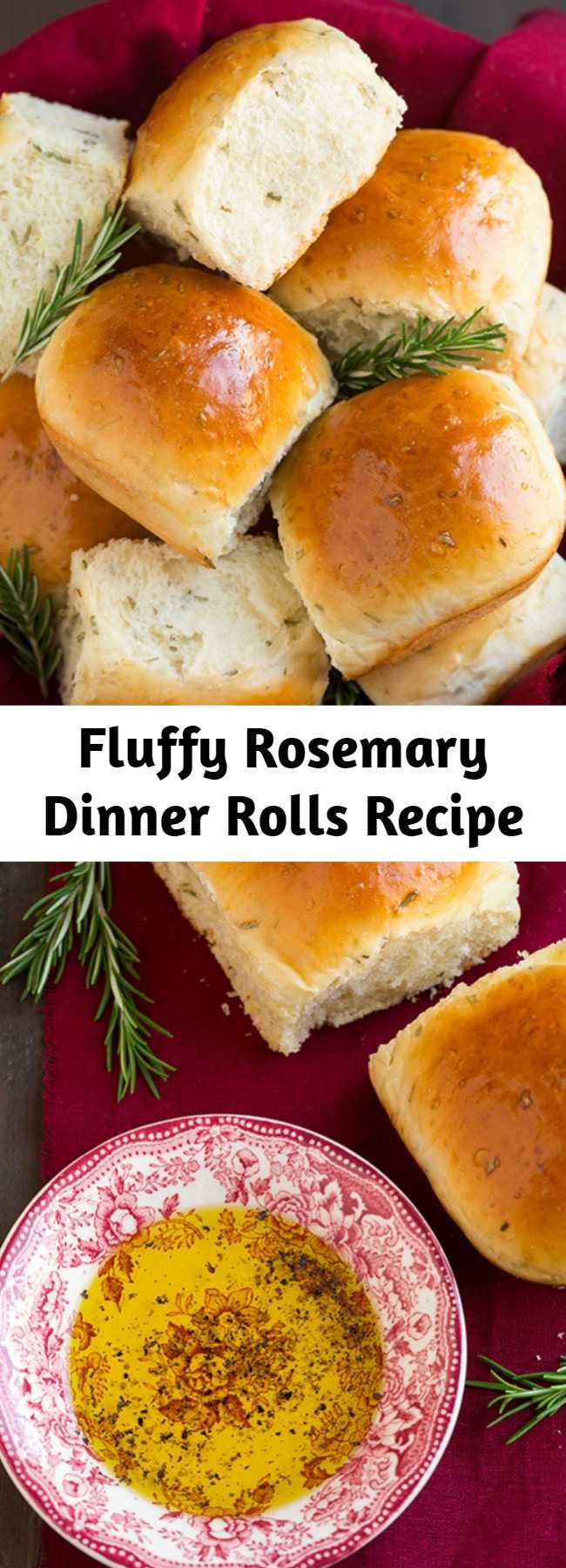 Fluffy Rosemary Dinner Rolls Recipe - The perfect roll recipe for the holidays! Soft and fluffy and deliciously flavored with fresh rosemary.