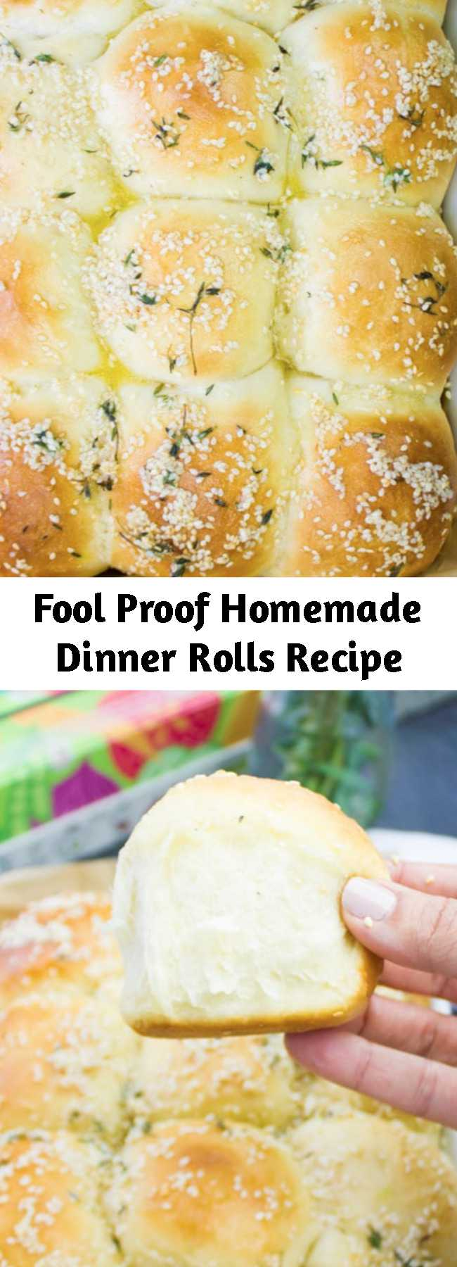 Fool Proof Homemade Dinner Rolls Recipe - These are pillowy, soft, fluffy, melt in your mouth soft dinner rolls. Light as air with a nice buttery taste--this dough is absolutely FOOL PROOF and it's a crowd pleaser every time! You can season them with different herbs, cheese, or spices to get a completely different flavor every single time! The easiest and most versatile bread dough out there!