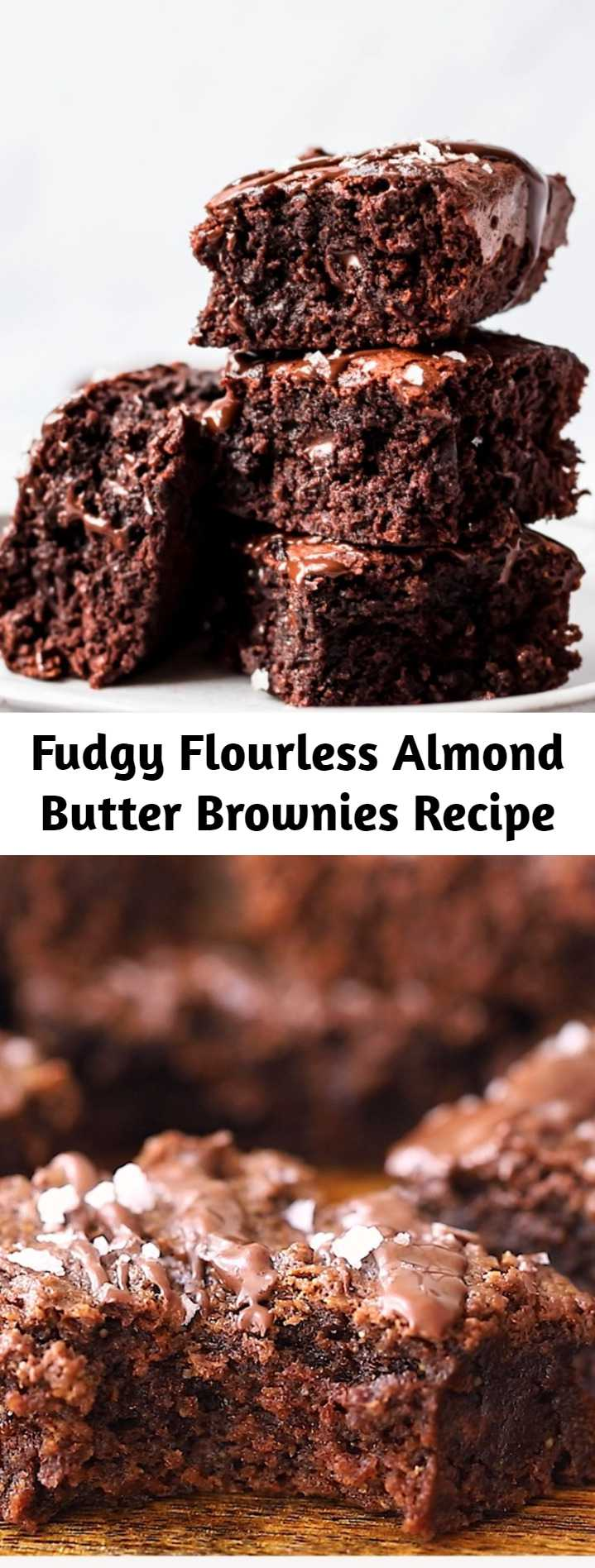 Fudgy Flourless Almond Butter Brownies Recipe (Gluten Free + Dairy Free) - One of the best gluten free brownie recipes on the internet. Fudgy, flourless almond butter brownies made with simple ingredients like natural creamy almond butter, pure maple syrup, cocoa powder and chocolate chips. Incredible hot from the oven or even straight from the fridge! #glutenfree #brownies #dessert #healthydessert #grainfree #dairyfree #chocolate #chocolaterecipe #baking