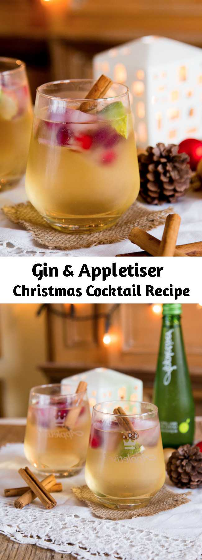 Gin & Appletiser Christmas Cocktail Recipe - A fruity twist on a gin & tonic, this long refreshing cocktail is lightly spiced and perfect for a Christmas party. Easy to make and serve over ice. Take out the cinnamon stick and serve it in the summer too!